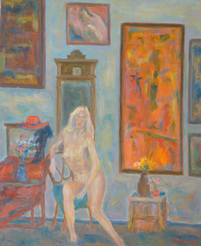 Blonde girl in the interior